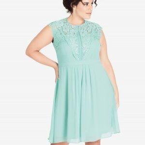 City Chic Mint Lace Bodice Dress